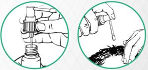 Die Dosier-Pumpe hilft beim Auftragen der Minoxidil-Lösung, um das Haarwachstum zu fördern